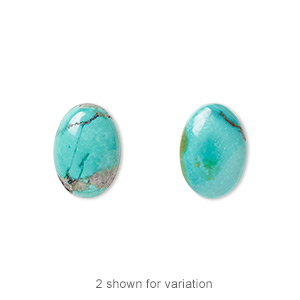cabochon, turquoise (dyed / stabilized), blue, 14x10mm calibrated oval, c grade, mohs hardness 5 to 6. sold per pkg of 2.