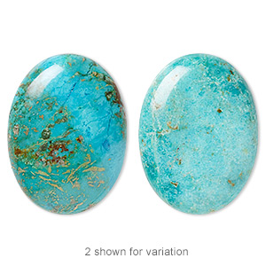 cabochon, turquoise (dyed / stabilized), blue, 40x30mm calibrated oval, c grade, mohs hardness 5 to 6. sold individually.
