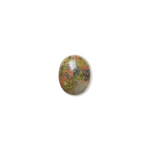 cabochon, unakite (natural), 10x8mm calibrated oval, b grade, mohs hardness 6 to 7. sold per pkg of 10.