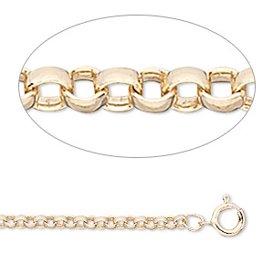 chain, 12kt gold-filled, 2mm rolo cable, 24 inches with springring clasp. sold individually.