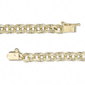 chain, 14kt gold, 4.5mm double curb, 7 inches with tab clasp and safety. sold individually.
