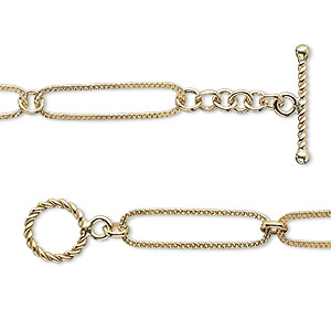 chain, 14kt gold-filled, 19x5mm textured oval with 3mm round, 7-1/2 inches with toggle clasp. sold individually.