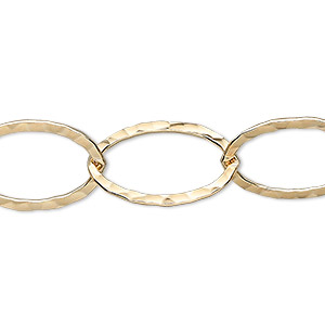 chain, 14kt gold-filled, 20x14mm flat hammered cable. sold per pkg of 5 feet.