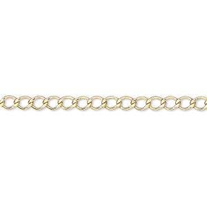 chain, 14kt gold-filled, 3mm flat curb. sold per pkg of 5 feet.