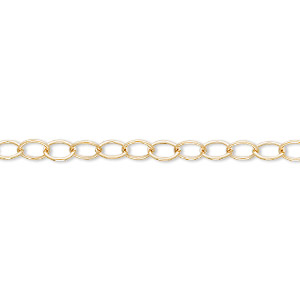 chain, 14kt gold-filled, 5x3.75mm oval cable. sold per pkg of 5 feet.