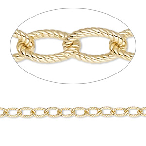 chain, 14kt gold-filled, 5x4mm textured cable. sold per pkg of 5 feet.