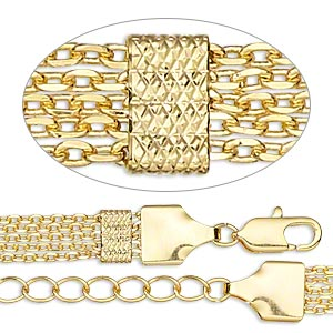 chain, 5-strand, gold-finished brass, 2x1.5mm cable and 7x4mm textured rectangle, 7-1/2 inches with lobster claw clasp and 1-1/4 inch extender chain. sold individually.