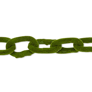 chain, aluminum, flocked green, 12mm cable. sold per pkg of 24 inches.