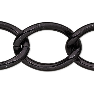 chain, anodized aluminum, black, 23mm cable. sold per pkg of 25 feet.
