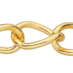 chain, anodized aluminum, gold, 23mm curb. sold per pkg of 5 feet.