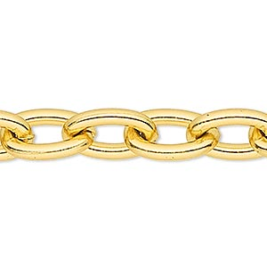 chain, anodized aluminum, gold, 5mm oval cable. sold per pkg of 5 feet.