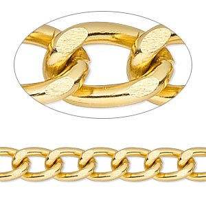 chain, anodized aluminum, gold, 7mm curb. sold per pkg of 5 feet.