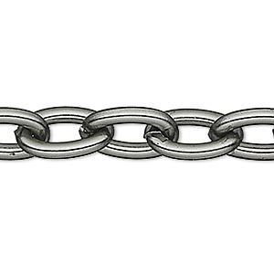 chain, anodized aluminum, gunmetal, 5mm oval cable. sold per pkg of 25 feet.
