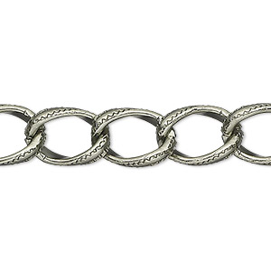 chain, anodized aluminum, gunmetal, 8mm textured curb. sold per pkg of 25 feet.