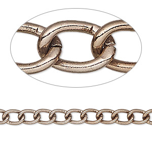 chain, anoized aluminum, bronze, 5mm curb. sold per pkg of 5 feet.