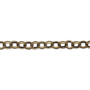 chain, antique brass-plated brass, 5mm rolo. sold per pkg of 5 feet.