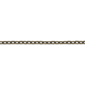 chain, antique brass-plated steel, 3x2mm flat cable. sold per pkg of 5 meters.