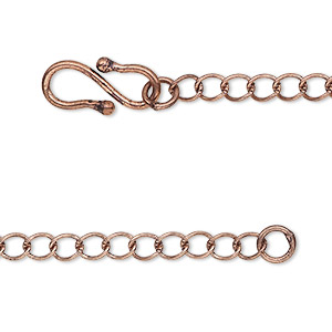 chain, antique copper-plated brass, 4x3.5mm curb, 18 inches. sold individually.