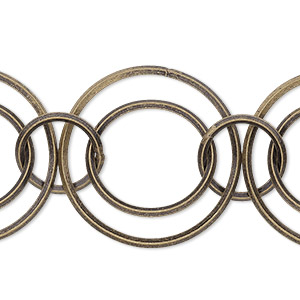 chain, antique gold-plated brass, 11mm/16mm/23mm interlocking rounds. sold per pkg of 5 feet.