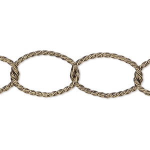 chain, antique gold-plated brass, 14mm twisted oval cable. sold per pkg of 5 feet.
