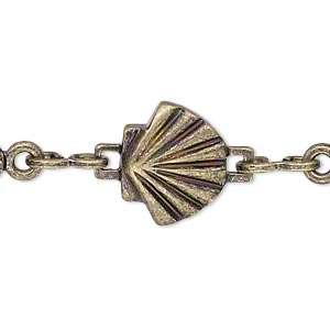 chain, antique gold-plated brass, 8.5x7.5mm single-sided shell with 17x3.5mm open flat oval. sold per pkg of 5 feet.