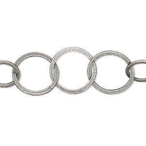 chain, antique silver-plated brass, 14mm flat round cable. sold per pkg of 25 feet.