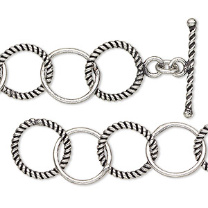 chain, antique silver-plated copper, 13.5mm smooth and textured round cable, 7 inches with toggle clasp. sold individually.