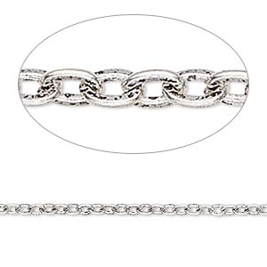 chain, antique silver-plated steel, 2mm flat cable. sold per pkg of 5 feet.