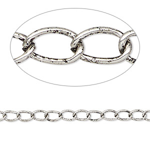 chain, antique silver-plated steel, 3mm curb. sold per pkg of 5 feet.