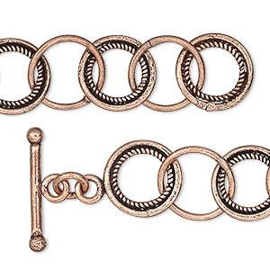 chain, antiqued copper, 13mm round cable, 6-1/2 inches with toggle clasp. sold individually.