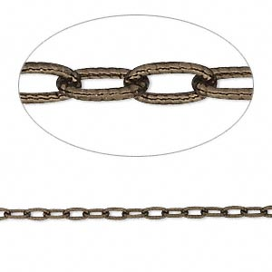 chain, antiqued vermeil, 4.5x2mm oval cable. sold per 25-foot spool.