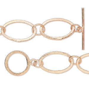 chain, copper, 16mm brushed long and short flat oval, 6 inches with toggle clasp. sold individually.