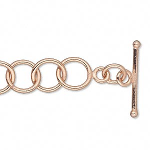 chain, copper-plated copper, 10mm open round link, 18 inches with toggle clasp. sold individually.