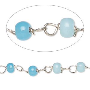 chain, glass and silver-finished copper, opaque blue and turquoise blue, 4mm beaded round. sold per 26-inch strand.