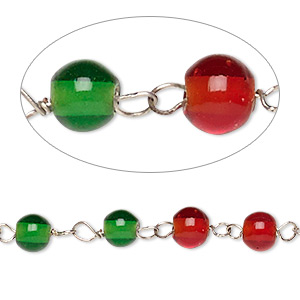 chain, glass and silver-finished copper, translucent red and green, 6mm beaded round. sold per 1-meter strand.