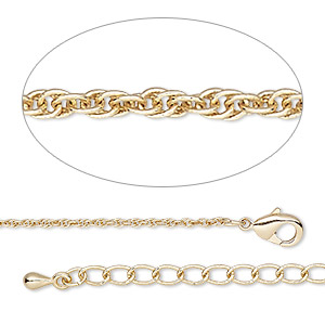 chain, gold-finished brass, 1.2mm triple rope, 18 inches with 2-inch extender chain and lobster claw clasp. sold individually.