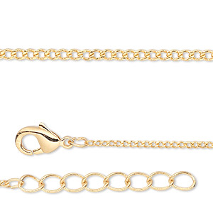 chain, gold-finished brass, 1mm curb, 18 inches with 1-1/4 inch extender chain and lobster claw clasp. sold per pkg of 4.
