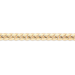 chain, gold-finished brass, 2mm curb, 36 inches with 1-1/4 inch extender chain and lobster claw clasp. sold per pkg of 2.