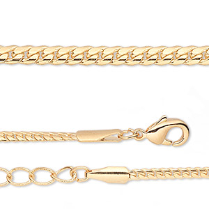 chain, gold-finished brass, 2mm curb, 8 inches with 1-1/4 inch extender chain and lobster claw clasp. sold per pkg of 2.
