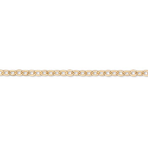 chain, gold-finished brass, 2mm flat cable, 16 inches with  1-1/4 inch extender chain and lobster claw clasp. sold per pkg of 4.