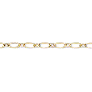 chain, gold-finished brass, 3.5mm long and short oval. sold per pkg of 5 feet.