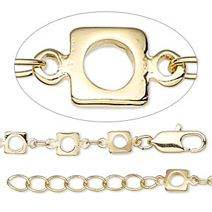 chain, gold-finished brass, 3x2mm oval and 5x5mm open square, 16 inches with 1-1/4 inch extender chain and lobster claw clasp. sold individually.