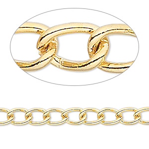 chain, gold-finished brass, 5mm curb. sold per pkg of 5 feet.