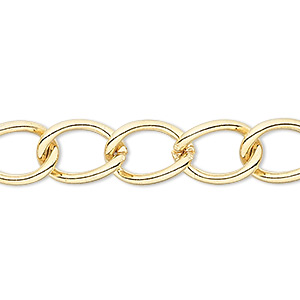chain, gold-finished brass, 9mm curb. sold per pkg of 50 feet.