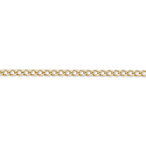 chain, gold-finished steel, 2mm curb. sold per pkg of 5 feet.
