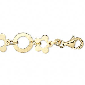 chain, gold-plated brass, 10mm flower and 11mm round, 6-1/2 inches with lobster claw clasp. sold individually.