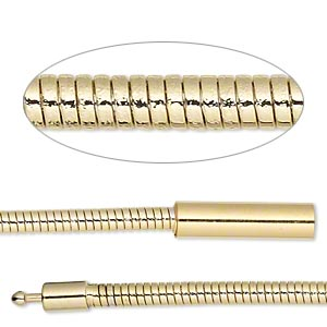 chain, gold-plated brass, 3mm omega, 7 inches with pop-style clasp. sold individually.