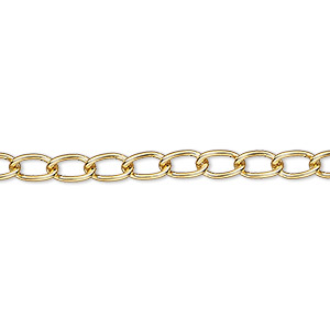 chain, gold-plated brass, 4mm curb. sold per pkg of 5 feet.