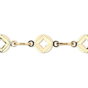 chain, gold-plated brass, 5.5mm flat round with diamond cutout. sold per pkg of 5 feet.