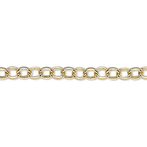 chain, gold-plated brass, 5mm rolo. sold per 50-foot spool.